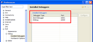 Installed Debuggers